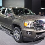 2015 GMC Canyon front three quarter view at NAIAS 2014