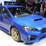 2015 Subaru WRX STi front three quarters at NAIAS 2014