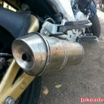 Redesigned Mahindra Mojo spied exhaust