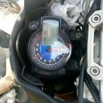 Redesigned Mahindra Mojo spied instrument cluster