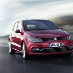 VW Polo facelift front three quarters view press image