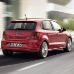 VW Polo facelift rear three quarters press image
