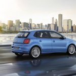 VW Polo facelift rear three quarters view press image