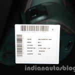 2014 Ford Figo VIN sticker at 2014 Auto Expo