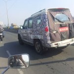 2014 Mahindra Scorpio facelift spied again in Chennai rear quarter