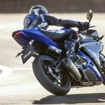 2014 Yamaha YZF-R125 rear three quarter press shot