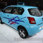 Accessorized Datsun Go at Auto Expo 2014 rear quarter blue