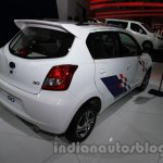 Accessorized Datsun Go at Auto Expo 2014 rear three quarters