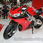 Aprilia RSV4 R ABS front three quarter right at Auto Expo 2014