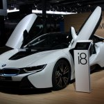 BMW i8 front three quarter scissor doors live