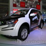 Mahindra XUV500 diesel hybrid front three quarters at Auto Expo 2014