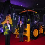 Mr. P. Ravishankar, CEO - Ashok Leyland John Deere Construction Equipment Company Pvt. Ltd & , Dr. V. Sumantran, Chairman, Ashok Leyland John Deere with the 435E Backhoe Loader (BHL)