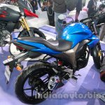 Suzuki Gixxer rear three quarters left at Auto Expo 2014