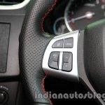 Suzuki Swift Sport audio volume buttons on the steering wheel at Auto Expo 2014