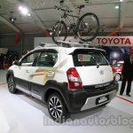 Toyota Etios Cross with accessories rear three quarters with bicycle carrier at Auto Expo 2014