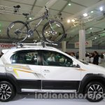Toyota Etios Cross with accessories side view with bicycle rack at Auto Expo 2014