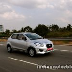 Datsun Go review image front three quarters in motion