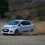 Hyundai Xcent Review side cornering shot