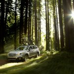 2015 Subaru Outback front three quarter press shot