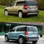 2014 Skoda Yeti facelift vs old Skoda Yeti rear three quarter