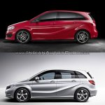2015 Mercedes B Class facelift vs older model side