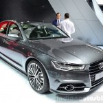 Audi A6 facelift front three quarters left at the 2014 Paris Motor Show