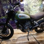 Ducati Scrambler green profile at INTERMOT 2014