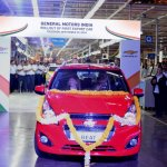 GM CEO Mary Barra and GM India President & Managing Director Arvind Saxena roll out first Chevrolet Beat for export from the GM Talegaon manufacturing facility in Maharashtra