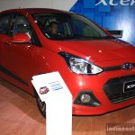 Hyundai Xcent front three quarter at the 2014 Nepal Auto Show