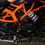 KTM RC390 rear suspension side view at the Indian launch