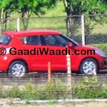 Maruti Swift facelift spied India red side