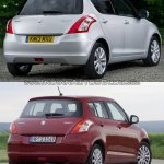 Maruti Swift facelift vs older model rear