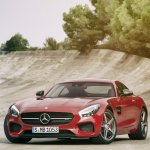 Mercedes AMG GT press image front three quarter red