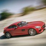 Mercedes AMG GT press image red front three quarter tracking shot