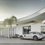 Mercedes AMG GT press image silver rear three quarter