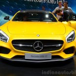 Mercedes AMG GT yellow front at the 2014 Paris Motor Show