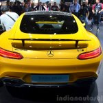 Mercedes AMG GT yellow rear at the 2014 Paris Motor Show