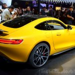 Mercedes AMG GT yellow rear three quarter at the 2014 Paris Motor Show