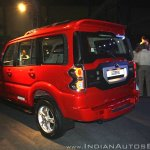 New Mahindra Scorpio rear three quarter zoom out at the launch