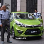 Proton Iriz driven by Dr. Mahathir Mohamad front three quarter