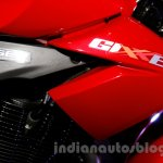Suzuki Gixxer badge at the Indian launch