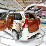 Toyota Avanza special edition doors open at the 2014 Indonesian International Motor Show