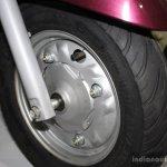 Yamaha Cygnus Alpha front wheel at the 2014 Nepal Auto Show