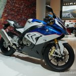 2015 BMW S 1000 RR blue front three quarters at the INTERMOT 2014