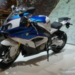 2015 BMW S 1000 RR blue front three quarters right at the INTERMOT 2014