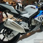 2015 BMW S 1000 RR blue rear three quarters at the INTERMOT 2014