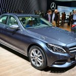 2015 Mercedes C Class front three quarter at the 2014 Paris Motor Show.