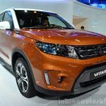 2015 Suzuki Vitara orange front three quarter at the 2014 Paris Motor Show