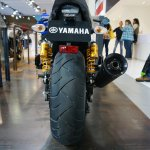 2015 Yamaha XJR1300 Racer rear tire and exhaust at INTERMOT 2014