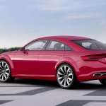 Audi TT Sportback concept rear three quarters left press shot